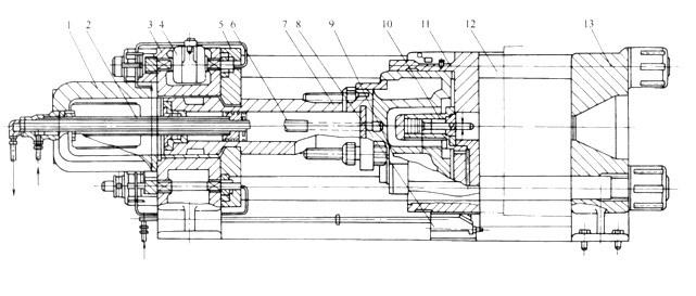 图1 液压-闸板式合模装置结构 1支撑座;2油管;3固定模板;4一油缸;5闸板;6顶杆;7移模油缸;8托架; 9 一安全装置;10顶出油缸;11锁模油缸;12拉杆;13模板 液压-闸板式合模装置的工作顺序是:压力油首先进入移模油缸右端,由于这个油缸中的活塞固定不动,使移模油缸和锁模油缸右移,将移动模板移到设定的合模位置;这时闸板在带有齿条的油缸驱动下,卡在移模油缸体外径的凹槽内,使移模缸定位,然后,高压油在液压阔控制下迅速进入锁模油缸,锁模油缸提高压力,达到所要求的锁模力吨位。 注射