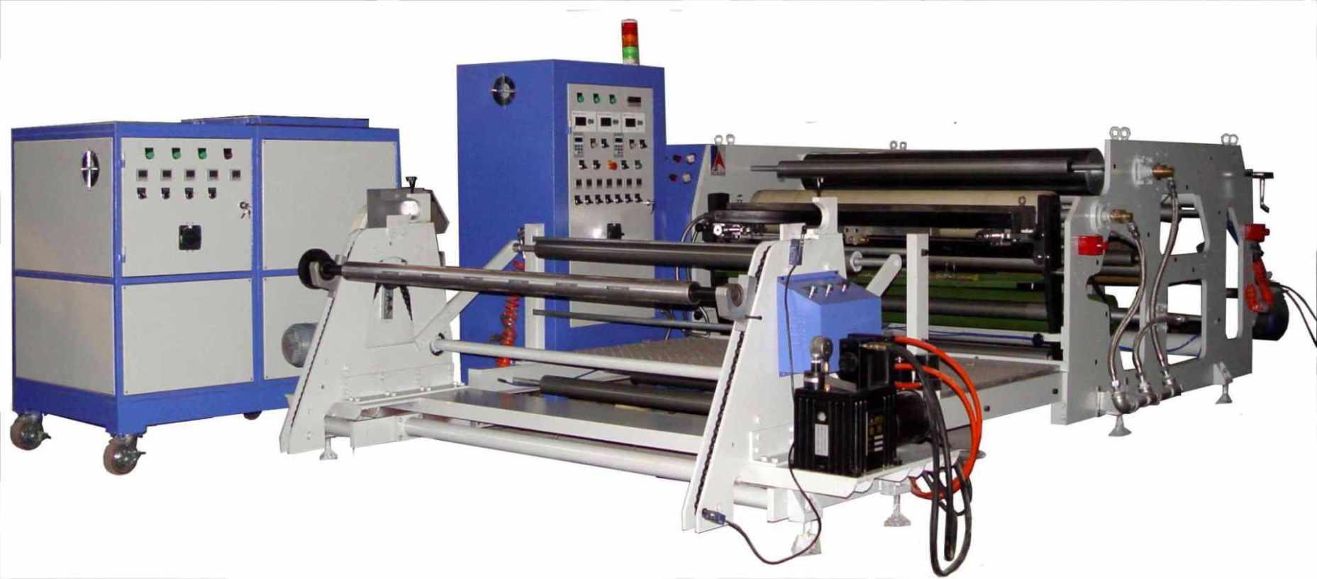 RT系列热熔胶涂布机 此RT系列热熔胶涂布机是一款最实用的一机多用的热熔胶涂布机,其优良的性能特点如下: 1、 技术参数 Technical Parameters 型号 Model RT 涂布宽度 coating width: 400mm-2500mm 涂布量 coating qunty : 15-200g/ 涂布速度 coating speed: 50m/min 放卷直径 Dia.