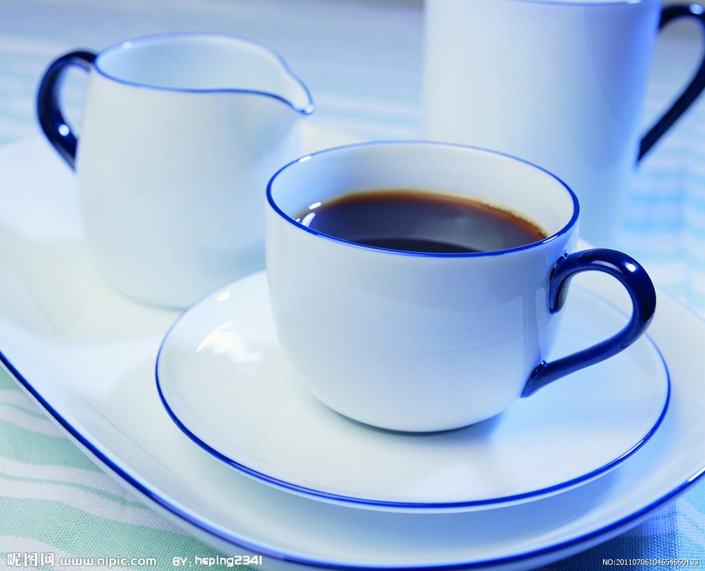 蓝色咖啡图片素材