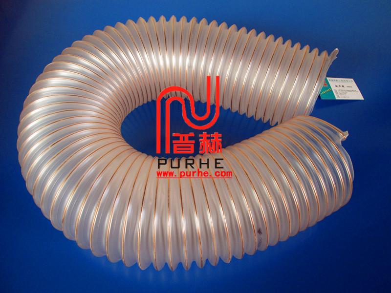 purheflex耐高温透明钢丝吸料管,pu钢丝伸缩管,pu钢丝吸尘管