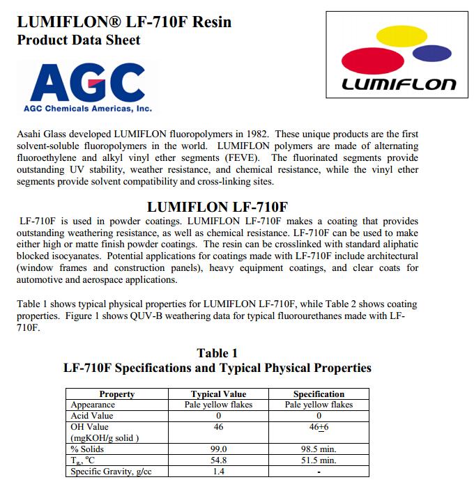 lumiflonlf710f日本进涂料用氟树脂