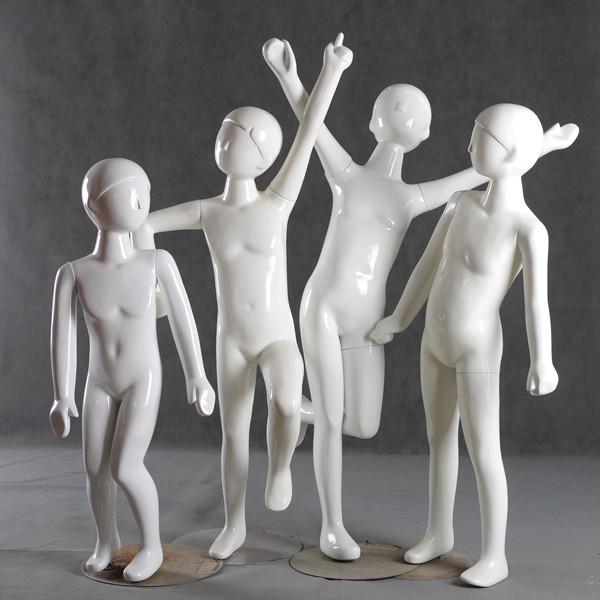 儿童模特道具 玻璃钢亮白抽象小孩服装道具展示