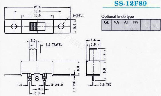 供应拨动开关SS-12F89G2、G3、G4