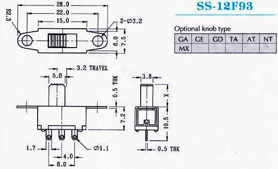 供应拨动开关SS-12F93G2、G3、G4