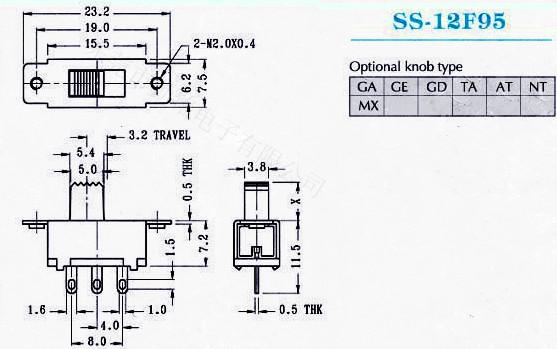 供应拨动开关SS-12F95G2、G3、G4