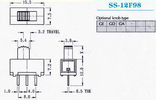 供应拨动开关SS-12F97G2、G3、G4