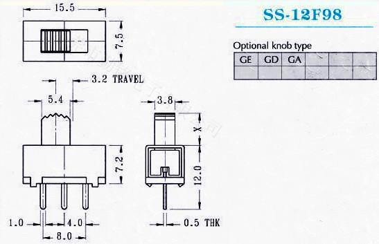 供应拨动开关SS-12F98G2、G3、G4