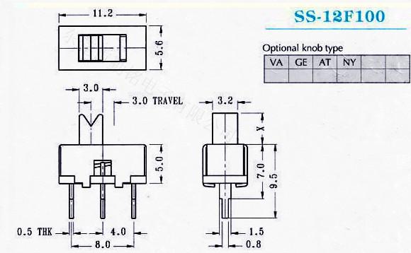 供应拨动开关SS-12F100G2、G3、G4