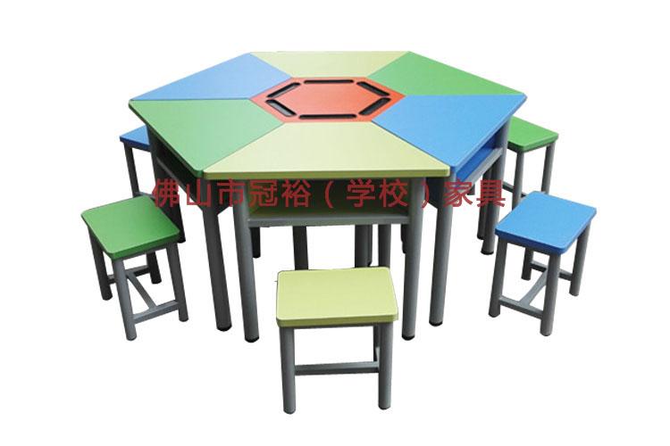 厂家批发辅导班学生课桌椅彩色梯形儿童学习桌幼儿园六边形组合桌