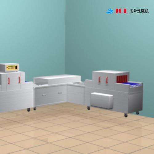 杰兮大型洗碗机流水线 食堂超声波洗碗机 学校食堂自动洗碗机清洗操作视频