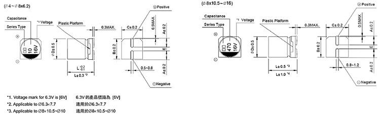 供应无极性贴片电解电容100UF 10V 6.37.7mm/NP1A101M0607示例图4