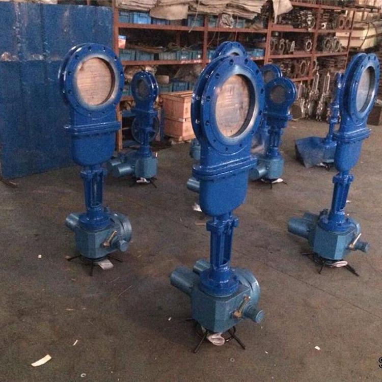 上海湖泉 电动刀闸阀 DN1000 排泥排渣用电动刀型浆液阀 排污泥块闸阀