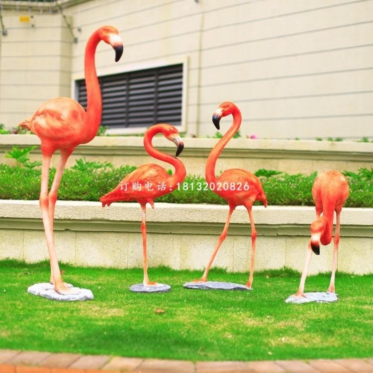 玻璃钢仿真火烈鸟 公园动物雕塑