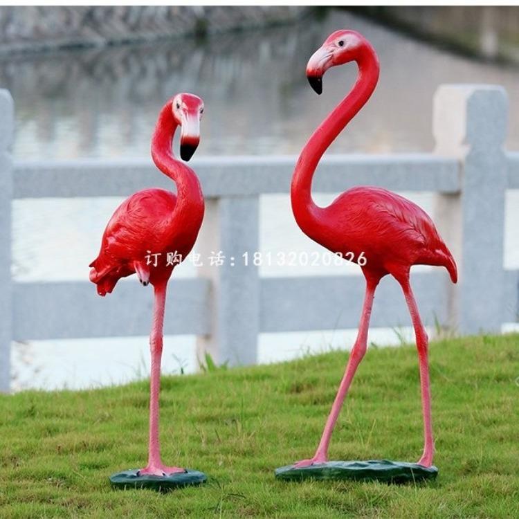 玻璃钢仿真火烈鸟,公园动物雕塑