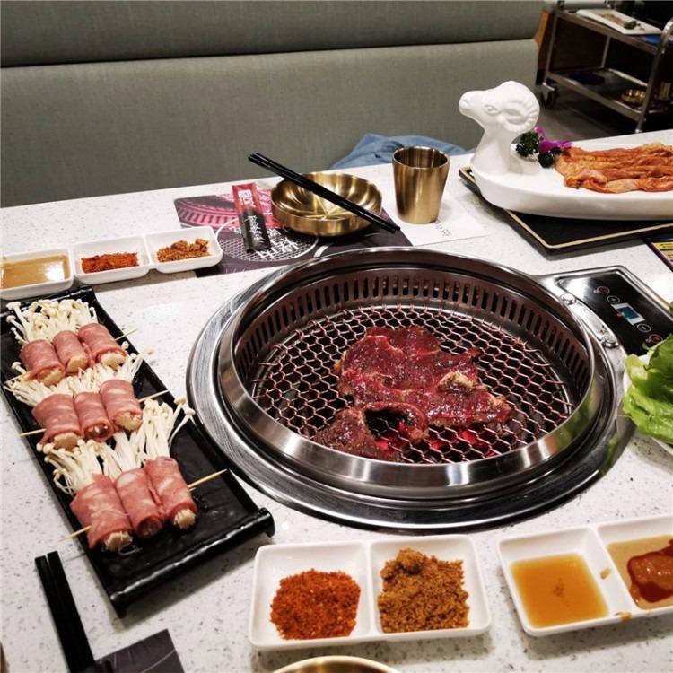 韩式烧烤桌椅 自助烧烤桌子 无烟烧烤桌子 烤肉桌椅