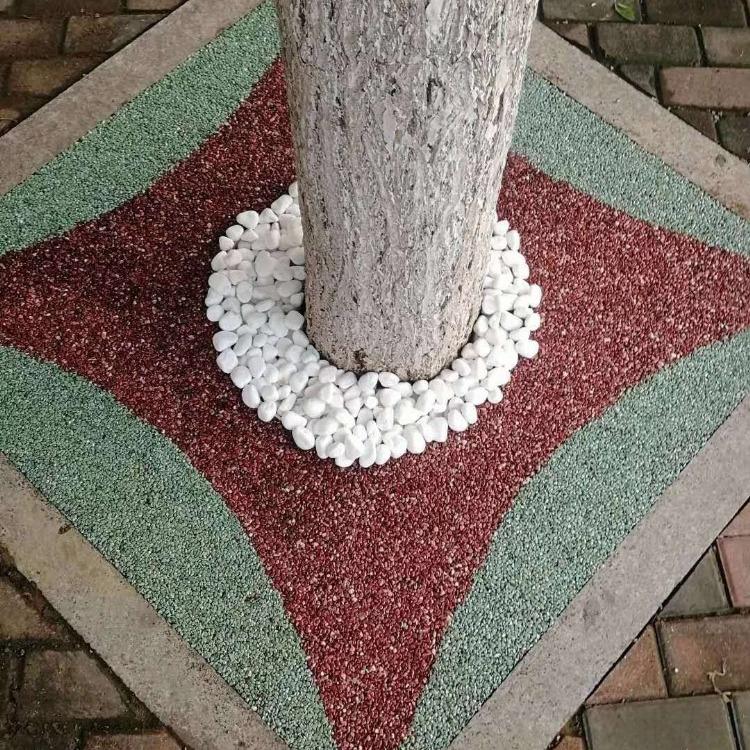 彩色露骨料 透水地坪 胶合剂材料 胶粘石透水地坪工程 胶粘石  彩色压花地坪 彩色地坪