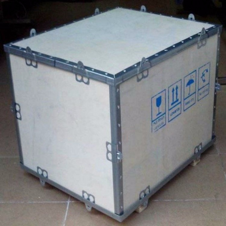 深圳免检钢带木箱包装,深圳出口钢边木箱包装,深圳钢边木箱包装