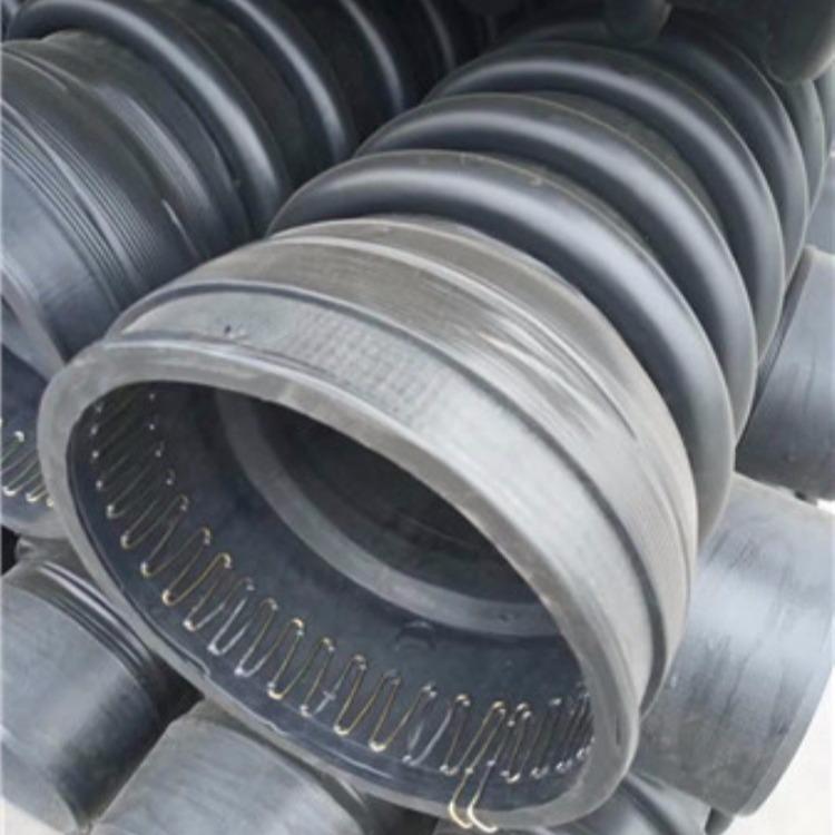 青海拉萨排水排污管材  钢带增强双壁波纹管 DN600 pe排污管材每米价格