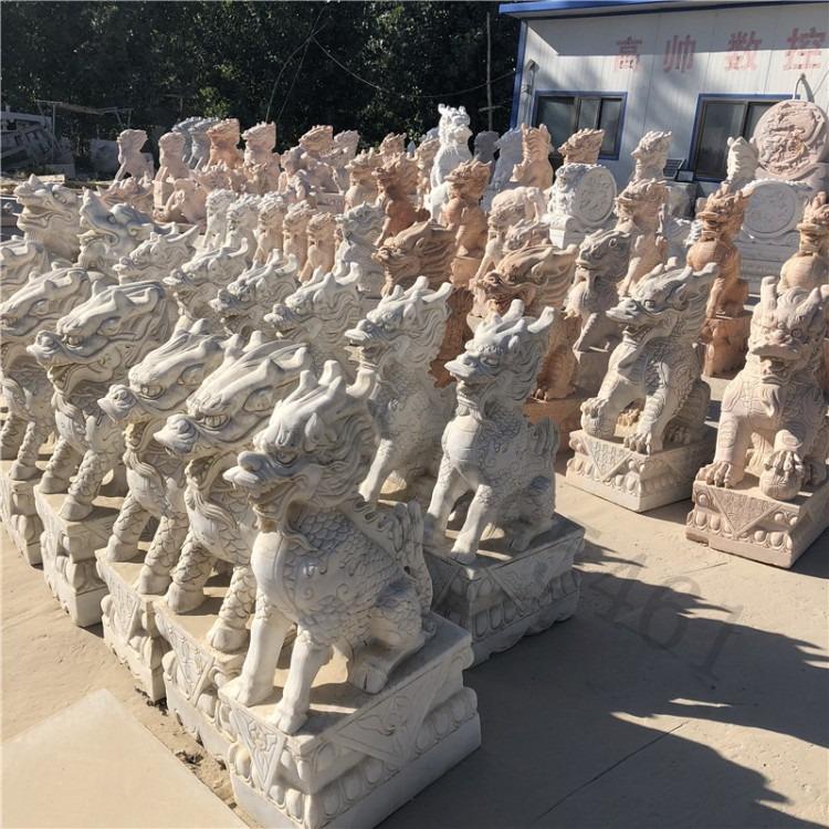 大艺曲阳 大理石麒麟 曲阳雕刻 麒麟神兽摆件 厂家直销常年供应