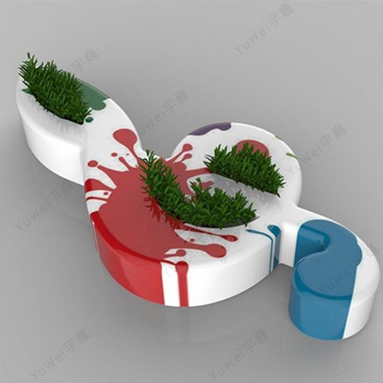 玻璃钢休闲椅厂家直销商场开业美陈户外景观坐凳玻璃钢音符组合休息座椅