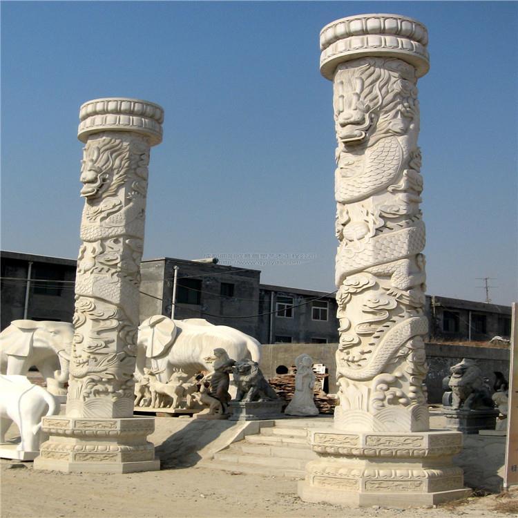 专业制作 盘龙柱 石雕文化柱 青石文化柱