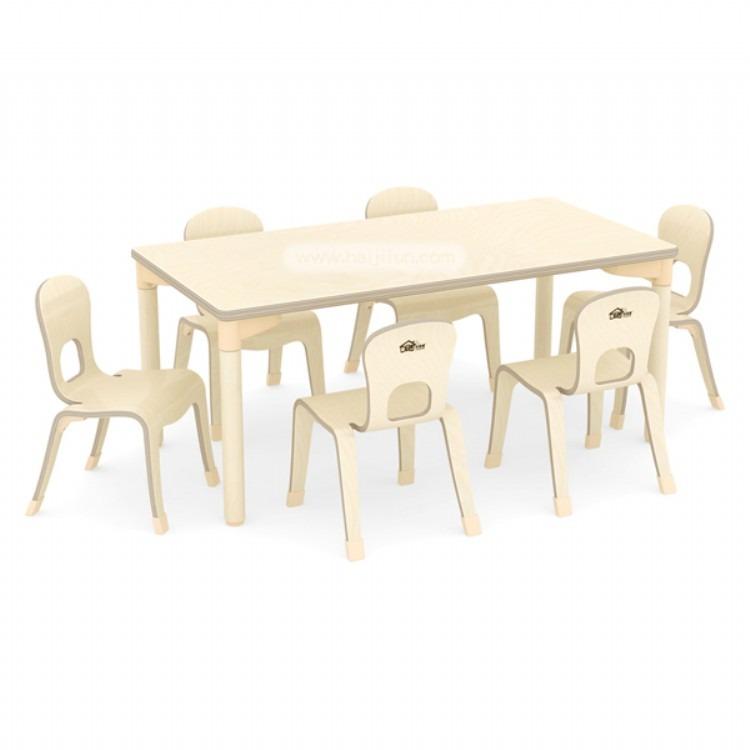 蒙泰基六人桌椅 幼儿园家具 早教儿童实木桌椅海基伦正品