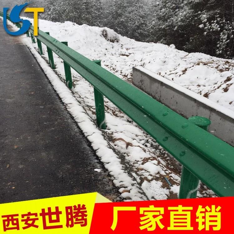 云南高速公路防撞栏乡村道路优质绿色双波喷塑防撞波形护栏