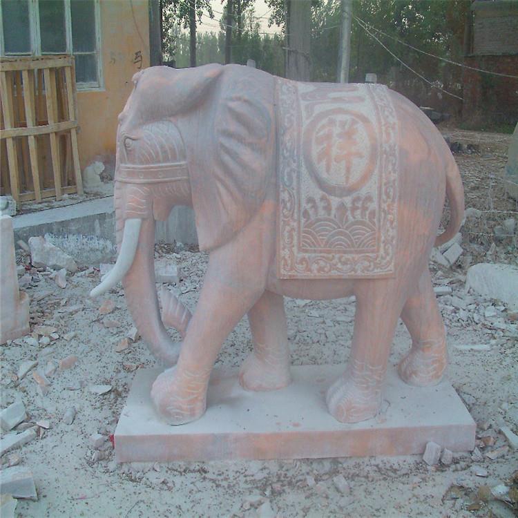 优质的 汉白玉石雕大象 狮子雕刻 晚霞红石雕狮子