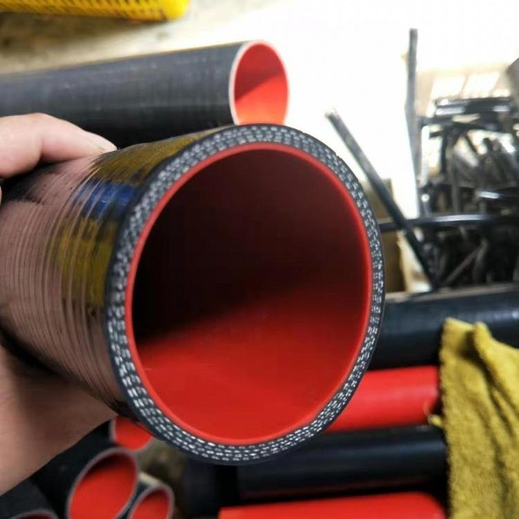 汽车硅胶管 改装进气管钢丝夹布耐高温黑色 发动机水管软管波纹管厂家