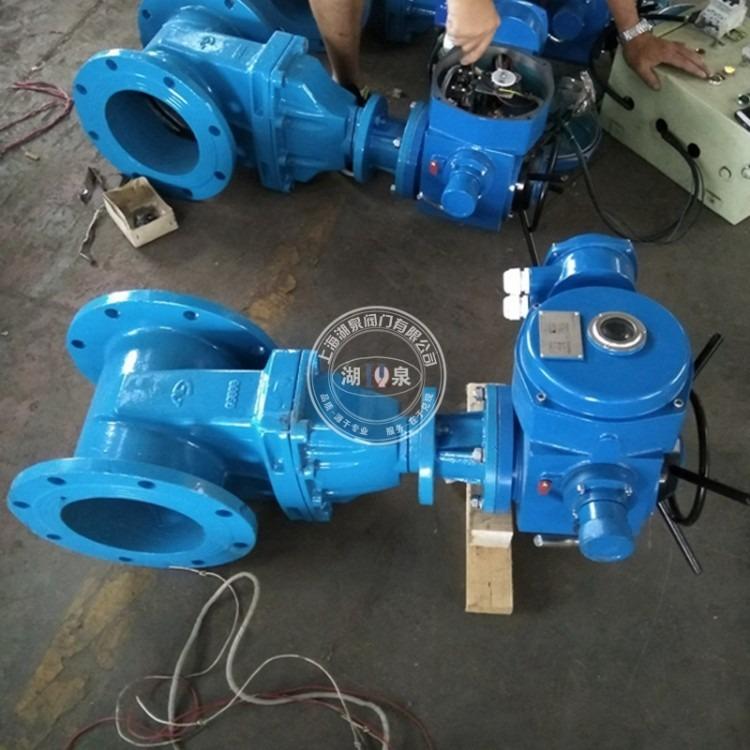 上海湖泉 暗杆电动闸阀Z945X-10Q 电动软密封闸阀